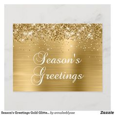 Season's Greetings Gold Glittery Faux Foil Holiday Postcard