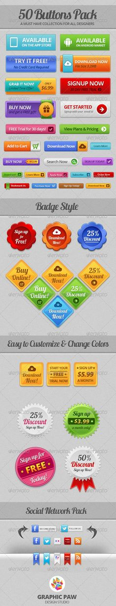 50 Buttons Pack Web Template PSD. Download here: http://graphicriver.net/item/50-buttons-pack/3170973?s_rank=279&ref=yinkira