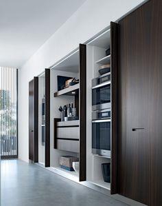 Lacquered linear wooden kitchen KYTON - @poliformvarenna