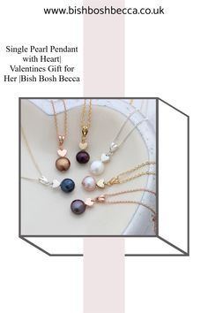 Bish Bosh Becca's pretty single solitaire pearl and heart charm necklace in sterling silver, rose gold or gold is the perfect, delicate jewellery to give as a romantic gift for your Valentine#jewellery #necklace #pendant #heart #pearl #heart #silver #rosegold #gold #valentines #mothers #delicate Silver Paper, Gold Paper, Valentines Gifts For Her, Valentines Jewelry, Valentine Hearts, Black Gift Boxes, Delicate Jewelry, Pearl Pendant, Becca