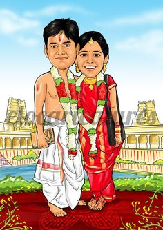 And wouldn't we love to have a personalized caricature wedding invite or save the date cards ? The thought of caricature wedding invites got us too excited and we j… Indian Wedding Couple, Indian Wedding Cards, Indian Wedding Invitations, Indian Wedding Planning, Wedding Couples, Wedding Bride, Wedding Art, Wedding Dress, Om Namah Shivaya