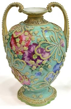 LARGE NIPPON MORIAGE FLORAL DECORATED PORCELAIN URN