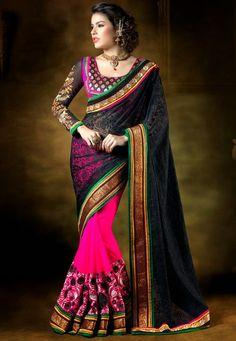 Stylish Festival Wear Black & Dark Pink Color #Embroidered #Saree