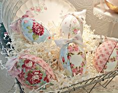 Penny's Vintage Home: Cottage Style Easter Eggs from Fabric Scraps