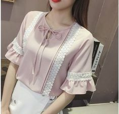 Bow lace chiffon shirt frenum Korean style shirt for women Blouse Styles, Blouse Designs, Women's Fashion Dresses, Hijab Fashion, Chiffon Shirt, Lace Chiffon, Korean Shirts, Sleeves Designs For Dresses, Fancy Tops
