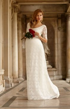 Soft and sensuous, our Verona long ivory maternity bridal gown is romantic and graceful.