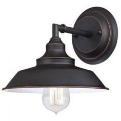 Westinghouse 6343500 Iron Hill One-Light Indoor Wall Fixture, Oil Rubbed Bronze Finish with Highlights and Metal Shade in Wall Lights. Farmhouse Style Kitchen, Modern Farmhouse Kitchens, Rustic Farmhouse, Bathroom Sconces, Wall Sconces, Mobile Home Bathrooms, Indoor Wall Lights, Bronze Highlights, Wall Light Fixtures