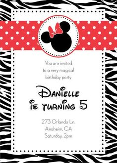 Minnie or Mickey Mouse Birthday Party Invitation-printable!