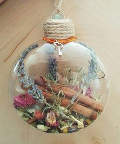 New Home Blessing Ornament - Witch Ball - Herbal Blessing - Yule Decor - House Protection Spell - Tree Ornament - Wiccan - Pagan