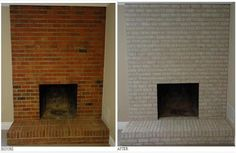 """FRIDAY, JULY 2012 Made the old brick hearth shine! WOW we found that the masonry fireplace paint we wanted came in this gorgeous """"twilight taupe"""". As you can see it turned out beautifully, Fireplace Doors, Paint Fireplace, Brick Fireplace Makeover, Black Fireplace, Fireplace Hearth, Fireplace Design, Paint Brick, Fireplace Ideas, Cottage Fireplace"""