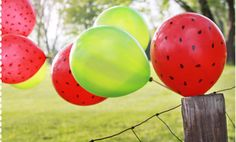 Watermelon Balloons - Hostess with the Mostess® - Picnic Parade Party Watermelon Birthday Parties, First Birthday Parties, Birthday Party Themes, First Birthdays, Watermelon Party Decorations, Birthday Ideas, Birthday Balloons, Picnic Theme, Picnic Birthday