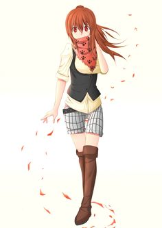 belt boots brown_hair casual komono little_busters! long_hair natsume_rin ponytail red_eyes