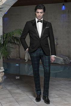 Abito da cerimonia con Dinner Jacket nera lana quadri madras e pantalone Tartan