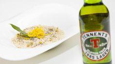 Risotto alla birra e limone con brodo di camomilla