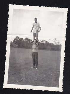 Old Vintage Antique Photograph Man Standing On Another Man's Shoulders