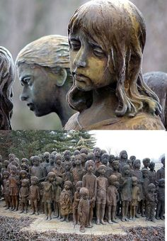 On 2 July 1942, most of the children of Lidice, a small village in what was then Czechoslovakia, were handed over to the Łódź Gestapo office. Those 82 children were then transported to the extermination camp at Chełmno 70 kilometers away. There they were gassed to death. This remarkable sculpture by by Marie Uchytilová commemorates them. (Wow)
