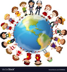 Around The World Children From Many Countries travel Music Illustration, Character Illustration, Countries Around The World, Around The Worlds, My Five Senses, Eid Stickers, Teacher Cartoon, Earth Day Crafts, School Frame