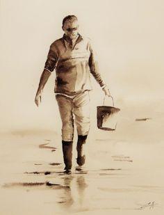 Mes petites aquarelles: La pêche à pied... le retour Men Beach, Guy Drawing, Realistic Drawings, Figure Painting, Oeuvre D'art, Marines, Bonsai, Watercolor Art, Sketches
