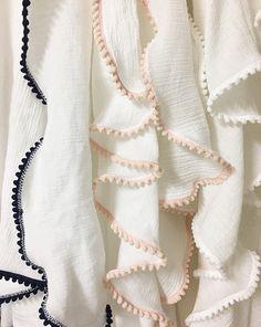 Build Your Own Cotton Gauze / Muslin swaddle baby blanket with mini pom-pom edge/ trim
