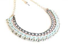 Statement Ketten - Statement Halskette Mint Grau Color Blocking - ein Designerstück von gudbling bei DaWanda