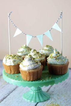 Pisces Inspired Bday Cupcakes (Gluten-free): Vanilla Bean & Pistachio Buttercream