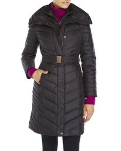 Marc New York Andrew Marc Katy Chevron Belted Puffer Black Medium NWT MSRP $247 #MarcNewYork #Puffer