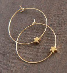 Cute Hoop Earrings  Gold Plated Hoop Earrings  by lilabelledesign, $24.00