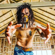 Come to Papa / FL - PALM - 001 / Post Apocalyptic Leather Mask / (available mask) Photo: / Model: / Design: Post Apocalyptic Fashion, Leather Mask, Steampunk, Palm, Custom Design, Dreadlocks, Hair Styles, Model, Handmade