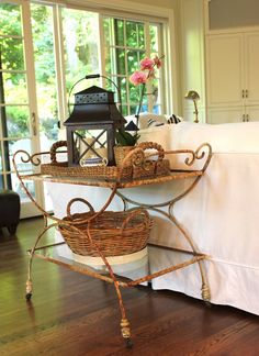 I love the serving tray and lantern! The room speaks for itself:)