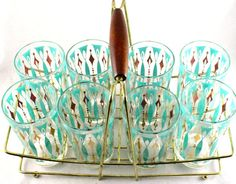 Vintage Turquoise and Gold MidCentury Modern Cocktail Drinking Glasses in Carrier - Drink Glasses Vintage Dishware, Vintage Bar, Vintage Dishes, Vintage Love, Vintage Decor, Vintage Items, Vintage Kitchen, 1950s Decor, Vintage Stuff