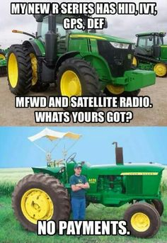 THe top picture is a John Deere 7290R from 2013 Ohio Farm Science Review
