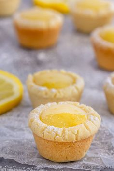 These lemon sugar cookie cups are like mini lemon pies with a sugar cookie crust - easy to make they're the perfect little sweet treat! Mini Desserts, Lemon Desserts, Lemon Recipes, Cookie Desserts, Just Desserts, Cookie Recipes, Delicious Desserts, Dessert Tarts Mini, Lemon Curd Dessert