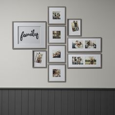 Frame Wall Collage, Wall Collage Decor, Photo Wall Collage, Frames On Wall, Wood Frames, Collage Ideas, Wall Art, Hallway Pictures, Family Pictures On Wall