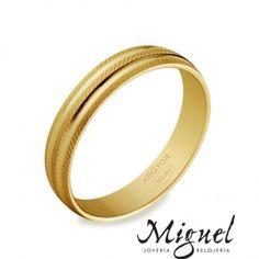 Colección de alianzas de bodas en oro de Argyor: alianza en oro amarillo facetada, de 18 quilates