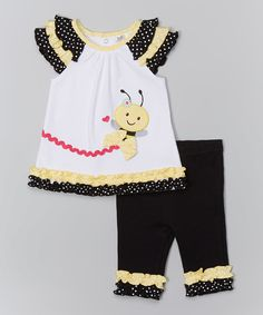 Look at this Baby Essentials Yellow & Black Bee Ruffle Tunic & Leggings