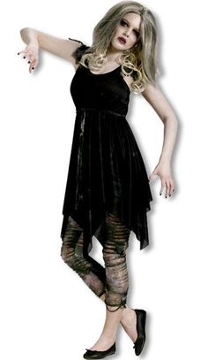 Night Zombie Teen Costume Description: She's one undead diva! Make a ghoulish statement this Halloween in this creepy costume! The Night Zombie Teen Costume Zombie Halloween Decorations, Creepy Halloween Costumes, Adult Halloween Party, Halloween Ideas, Halloween Zombie, Halloween Foods, Halloween 2013, Halloween Stuff, Holiday Decorations