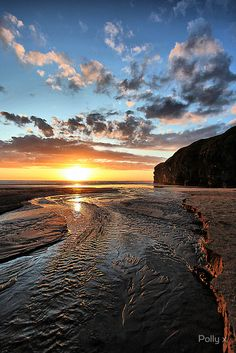Sunset on Strand River, Ballybunion,  Ireland