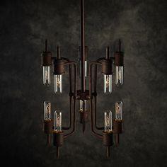 Neri 10-light Rusty Metal 16-inch Edison Chandelier with Bulbs