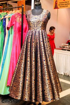 Customized partywear gowns Choices on fabric, design and size is available. Long Gown Dress, Sari Dress, Anarkali Dress, Lehenga, Indian Gowns Dresses, Brocade Dresses, Pakistani Dresses, Indian Designer Outfits, Indian Outfits