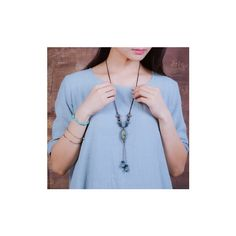 Ethnic Wax Rope Ceramic Beads Necklace ($3.80) ❤ liked on Polyvore featuring jewelry, necklaces, blue, jewelry necklaces, blue jewelry, beading jewelry, beading necklaces, rope necklace and leopard necklace