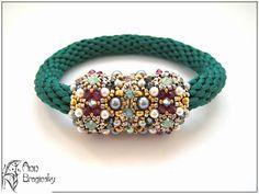 Anna Braginsky - ornaments from beads Wire Jewelry, Beaded Jewelry, Handmade Jewelry, Beaded Necklace, Beading Tutorials, Beading Patterns, Crochet Rope, Gemstone Bracelets, Bead Crafts