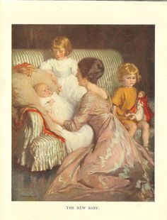 Vintage 1925 Colour Print  New Baby, Mother And Two Sisters. Ideal For Framing…