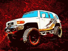FJ Cruiser - One of the Friends involved with this project suggested names 4 the SuperHeroes in what will be a large mockup of a Comix Page! – U can click the Pix to own Ur own print of this Jeep Pickup Cartoon Style! - Read the Blog to Find Out What I'm Talkin' Bout! ~;0) VivaChas Hot Rod Art!