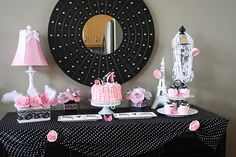 PINK SILVER BLACK WHITE CANDY BUFFET | ... Themed Birthday Party Pics and Candy Buffet Ideas! | Sweet City Candy
