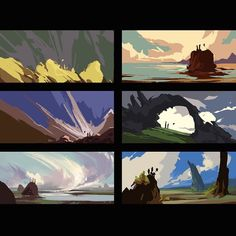I would get sick when I have tons of work to do . Concept Art Tutorial, Digital Art Tutorial, Environment Painting, Environment Concept Art, Landscape Concept, Landscape Art, Bg Design, Writing Art, Environmental Art
