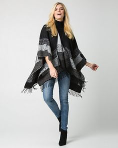 French-Made Blanket Scarf - Oversized stripes lend a bold look to this French-made blanket scarf finished with bohemian fringe-tipped edges.