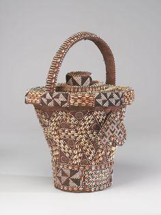 Africa   Wisdom Basket (Kweemishaam'l).  Kuba culture   (Democratic Republic of Congo).  ca. 19th - 20th century   Raffia, cane, cowries, glass beads, copper