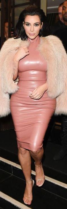 Kim Kardashian's pink latex dress and clear sandals style id