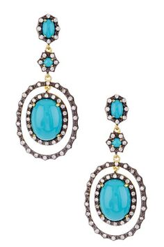 Turquoise in blackened silver