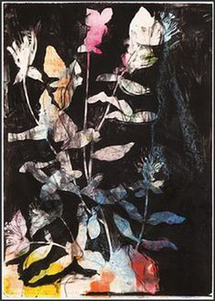 From The WhiteHouse Gallery Johannesburg, Jim Dine, Wild Flowers in The Night Lithograph over monotype, 106 × 75 in Flower Images, Flower Art, Nina Flowers, Jim Dine, Drawing Projects, Abstract Nature, Botanical Drawings, Oui Oui, Flowers Nature